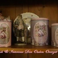 """Ronde blikken dozen, set van 3 """"Mille Roses de Paris"""""""