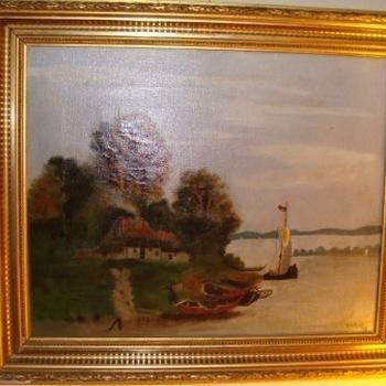 Schilderij boerderij aan het meer.