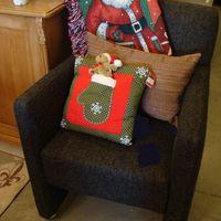 Kerst : plaid kerstman rood, groen, blauw, wit, Susan Winget