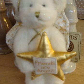 Kerst pluche : kerstboomornament engelenbeertje wit/goud.