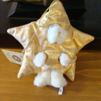 Kerst pluche : kerstboomornament sterbeertje wit/goud.
