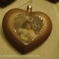 Kersthartje in fijn glas retrostijl, oud rose