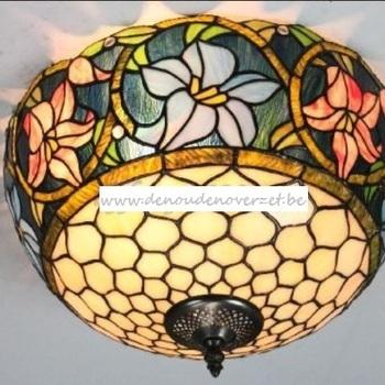 Plafondlamp tiffany, border met lelies, DOO1710/003
