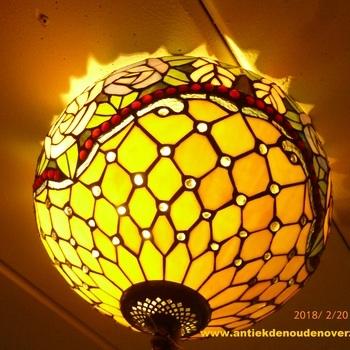 Plafondlamp tiffany, bloemenborder met rozen DOO1710/006