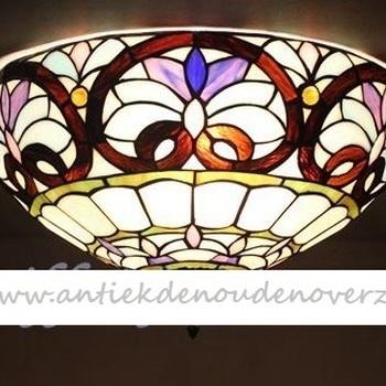 Plafondlamp tiffany, waaier Art Deco, DOO1710/009