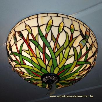 Plafondlamp tiffany, libel in het riet DOO1710/016
