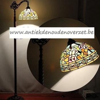 Vloerlamp tiffany, bloemen pastel, down DOO1710/054