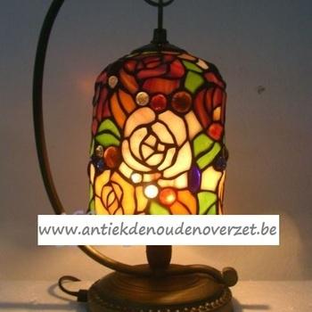Tafellamp tiffany kleurige bloemen, hang DOO1710/068