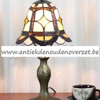 Tafellamp tiffany in bruin en goud DOO1710/079