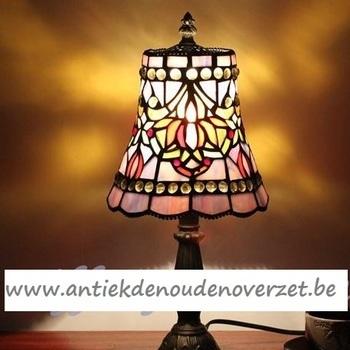 Tafellamp tiffany, paars met pareltjes DOO1710/087