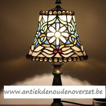 Tafellamp tiffany, madeliefjes in blauw DOO1710/088