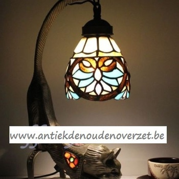 Tafellamp tiffany, Art Deco met  kat DOO1710/090