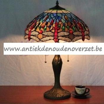 Tafellamp tiffany, libel met blauw DOO1710/156