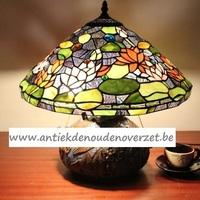 Tafellamp tiffany, champignonmodel met bloemen DOO1710/163