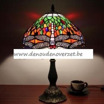 Tafellamp tiffany, witte libellen in het groen DOO1710/130