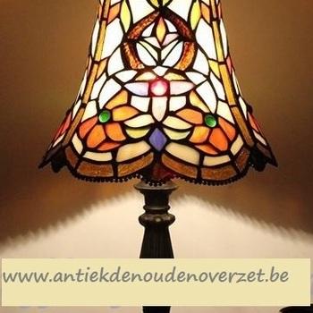 Tafellamp tiffany, oranje bloemetjes DOO1710/094