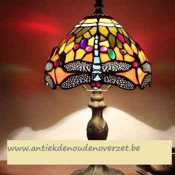 Tafellamp tiffany, blauwe libel in het goud DOO1710/097
