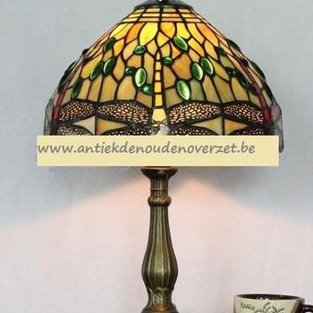 Tafellamp tiffany, gouden libel in geel groen DOO1710/112