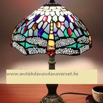 Tafellamp tiffany, gouden libel in het blauw DOO1710/116