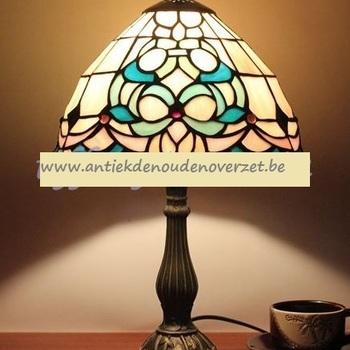 Tafellamp tiffany, Art Deco in appelblauw/zeegroen DOO1710/118