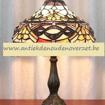 Tafellamp tiffany, bruin/goud motief DOO1710/119