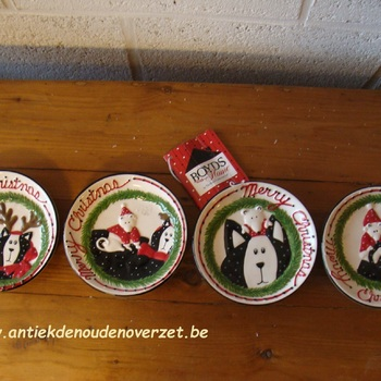 "Bordjes, set van 4 stuks ""Merry Kitty Mini Plates"""