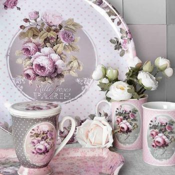 """Dienblad rond """"Mille Roses de Paris"""""""
