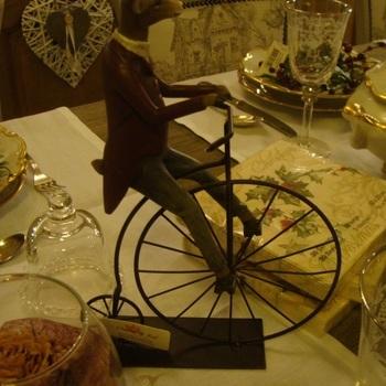 """Decoratie kerst, """"Hert op fiets"""""""