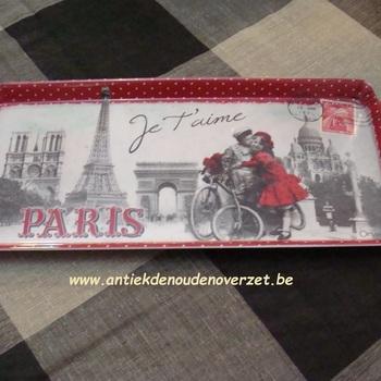 "Dienblaadje/tray, medium ""Paris je t'aime"""