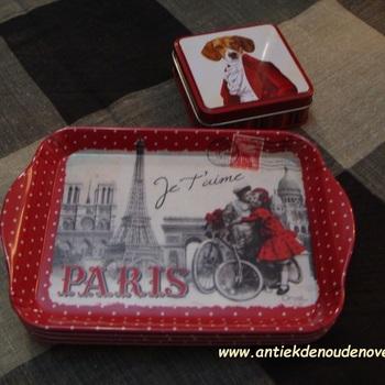 """Dienblaadje/tray, klein """"Paris je t'aime"""""""