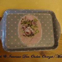 "Dienblaadje/tray, klein : ""Mille Roses de Paris"""