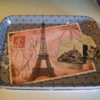 """Dienblaadje/tray, klein, """"Carte Postale de France"""""""