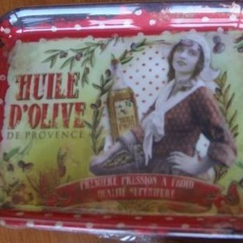 """Dienblaadje/tray, klein """"Huile d'Olive"""""""