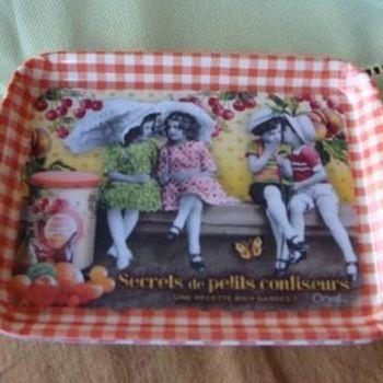 """Dienblaadje/tray, klein, """"Secrets de petits confiseurs"""""""