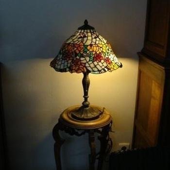 Tafellamp tiffany 5384/prom., oranje bloemen