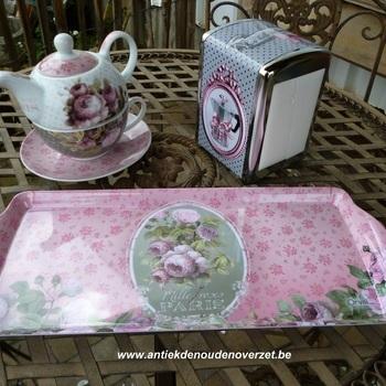 "Dienblaadje/tray, medium : ""Mille Roses de Paris"""