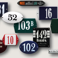 Enamelled signs and house number plates